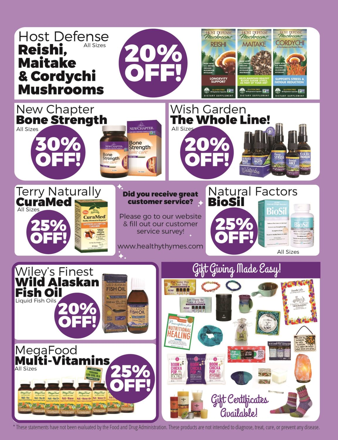 Healthy Thymes Market Sales Flyer